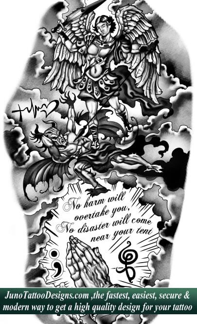 archangel demon tattoo , praying hands tattoo , quote tattoo, sleeve tattoo, JunoTattooDesigns