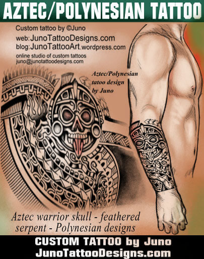 Aztec Polynesian forearm tattoo - How to create a tattoo %100 online