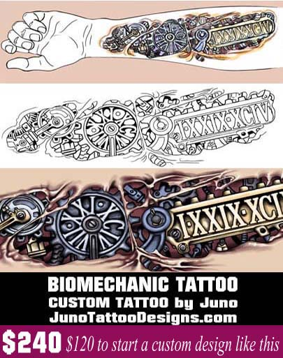 biomechanic tattoo, forearm tattoo, date tattoo, Juno Tattoo Designs
