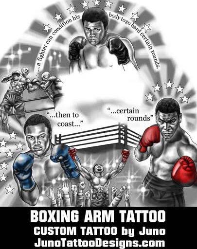 boxing tattoo, portrait tattoo, tyson tattoo, ali foreman tattoo, juno tattoo designs