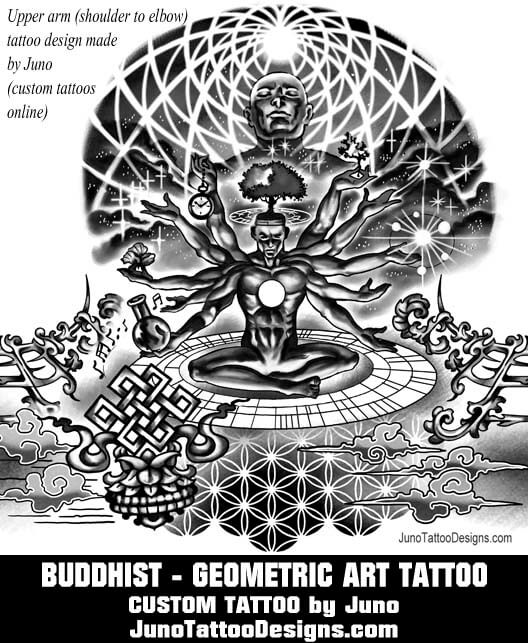 buddhist tattoo, geometric tattoo, male arm tattoo, juno tattoo designs