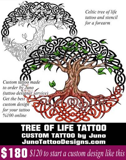 celtic tree of life tattoo, juno tattoo designs