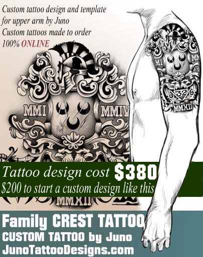 family crest tattoo, coat of arms tattoo, masonic symbols tattoo, juno tattoo designs