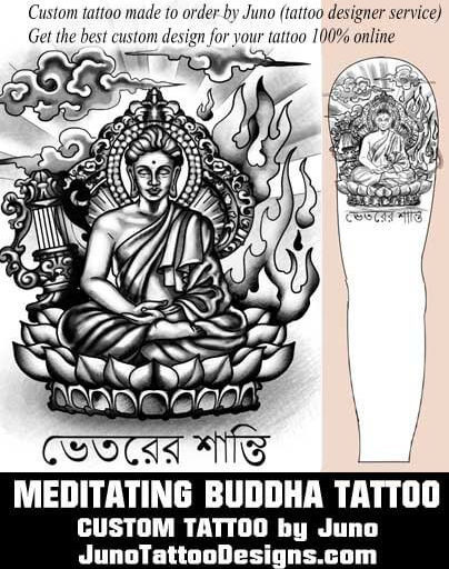 meditating buddha tattoo, juno tattoo designs
