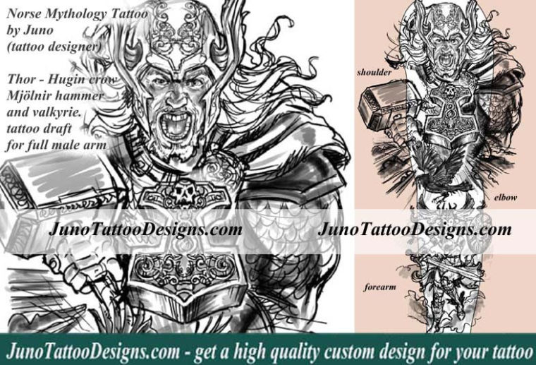 norse mythology tattoo, thor tattoo, hugin tattoo, mjölnir hammer tattoo, valkyrie tattoo, juno tattoo designs