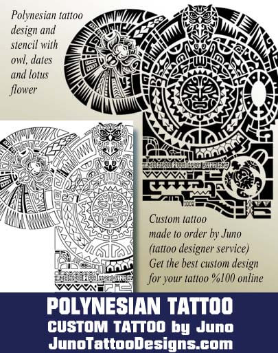 polynesian tattoo,tattoo template, samoan tribal template, owl, lotus flower,juno tattoo designs