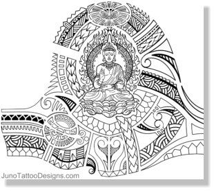 Samoan Tibetan Buddhist Tattoo Template