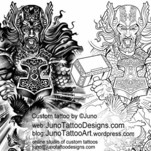 thor norse mythology tattoo template by juno tattoo designs how to
