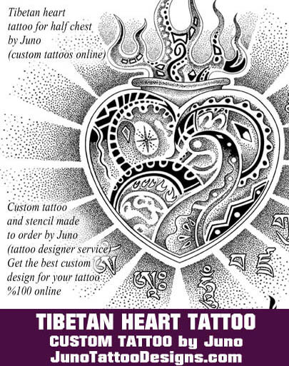 tibetan heart tattoo, juno tattoo designs