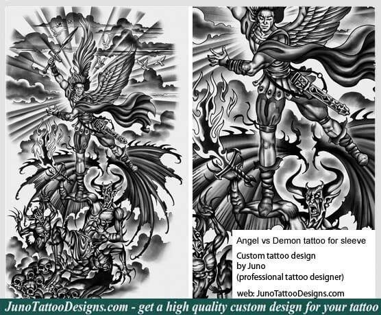 b5e33b78c ... evilangel angel versus demon tattoo, sleeve tattoo, archangel tattoo, warrior  angel tattoo, juno