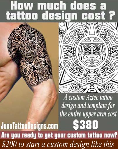 how does much a tattoo cost, aztec tattoo, juno tattoo design