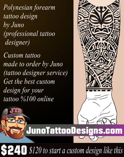 Polynesian tattoo, samoan tattoo, tiki tattoo, forearm tattoo, juno tattoo designs