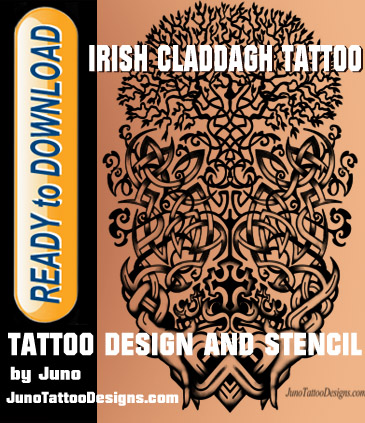 Irish Claddagh tattoo, Celtic tattoo, tattoo template, tree of life tattoo, celtic tree tattoo, tattoo stencil, juno tattoo designs