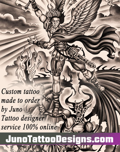 Saint-Michael tattoo, Demon tattoo, archangel tattoo, juno-tattoo-designs