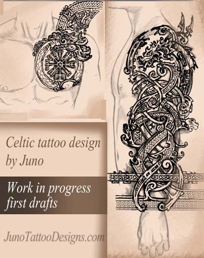 celtic tattoo design, dragon tattoo, norse mythology tattoo, runnes tattoo, juno tattoo designs, tattoo desginer online