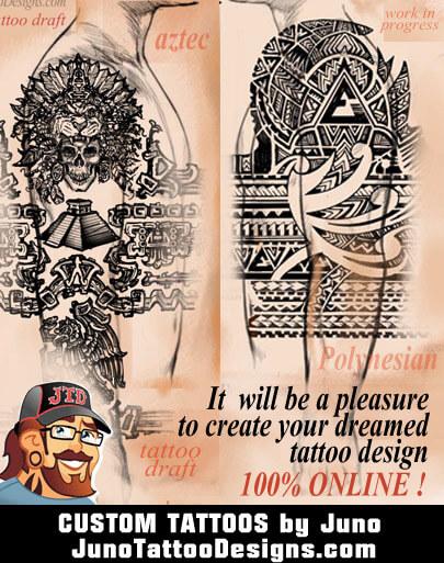 custom tattoo, aztec tattoo, polynesian tattoo, skull tattoo, aztec warrior tattoo, mexican eagle serpent tattoo, Juno Tattoo Designs