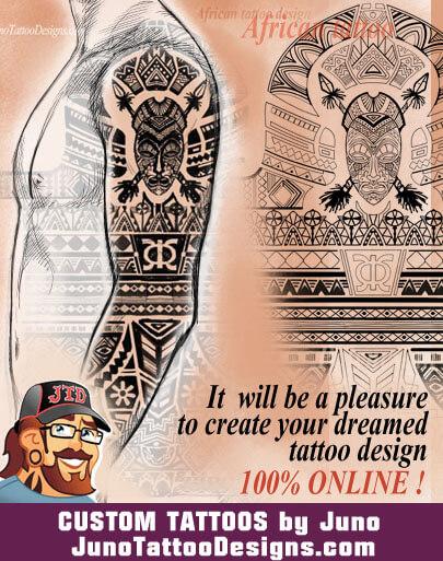 african tattoo, sleeve tattoo,male tattoo,Juno Tattoo Designs