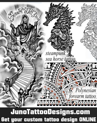 steampunk tattoo, biomechanic tattoo, polynesian tattoo, jesus tattoo, junotattoodesign