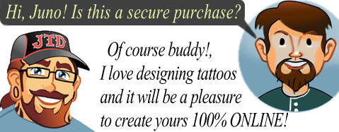 secure purchase, create a tattoo, junotattoodesigns
