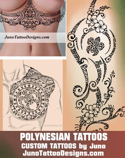 decorative polynesian tattoos, under boobs tattoos, chest tattoos