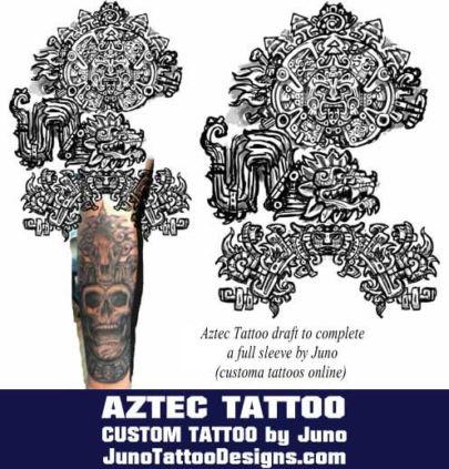 aztec tattoo draft by juno tattoo designs