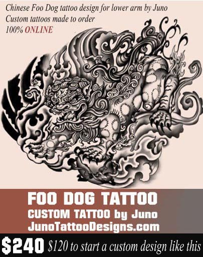 chinese dogt attoo, fu dog tattoo, japanese lion tattoo, juno tattoo designs, custom tattoos online