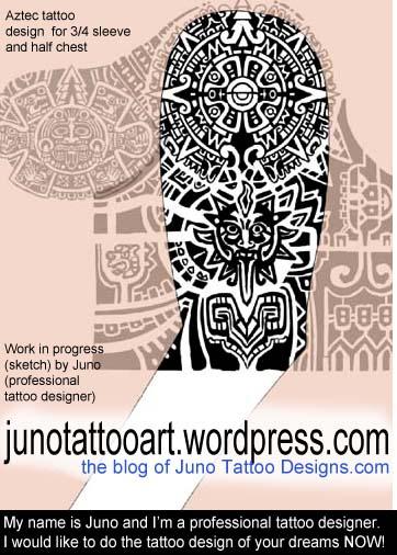 17 tribal archives u20aa aztec tattoos kinich ahau for Aztec lion tattoo meaning