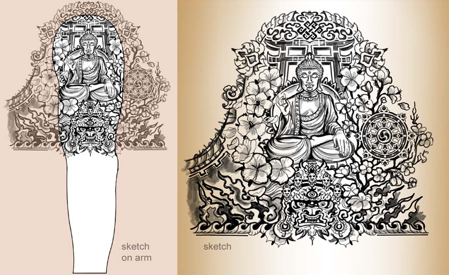 Chris buddhist tattoo sketch for arm for Forearm tattoo sketches