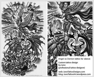 angel versus demon tattoo-sleeve tattoo
