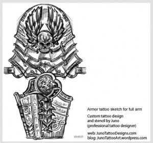 armor-tattoo-sketch-for-full-arm