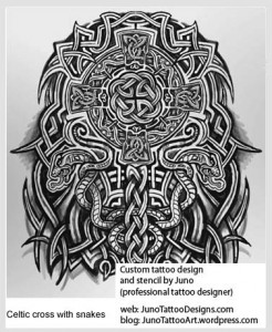 celtic snakes cross tattoo