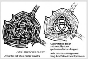 celtic triquetra tattoo - half chest armor tattoo