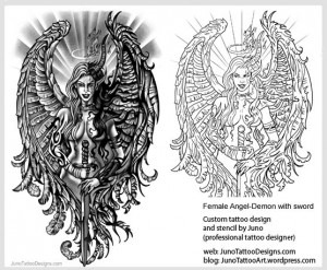 female angel demon sword tattoo - tattoo stencil