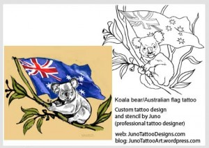 koala bear tattoo-australian flag tattoo