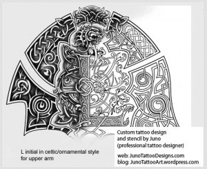 ornamental tattoo - celtic font tattoo