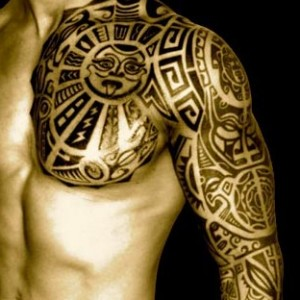 polynesian tattoo chest and arm