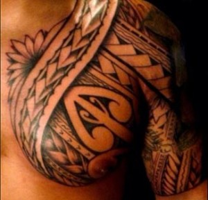 polynesian tattoo half chest