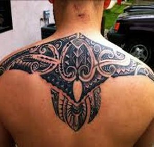 polynesian tattoo upper back