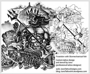 poseidon biomechanical fish tattoo-tattoo template