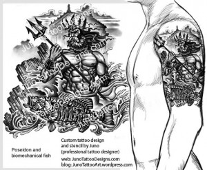 poseidon biomechanical fish tattoo